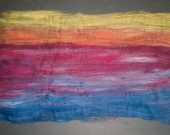 Primary Sunset -  Art Batts - spinning felting fiber fibre textile arts - red orange yellow blue purple