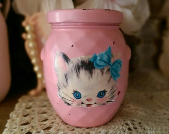 Kitten Shabby Chic Painted Jar Retro Vintage BETSY the KITTY CAT Peach/Pink Coral Nursery Home Office Dorm Kitchen Housewarming Hostess Gift