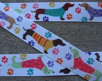"""Dog Paws Printed Ribbon 7/8"""" Dogs grosgrain hair bows ribbon dog collars ribbon supplies"""