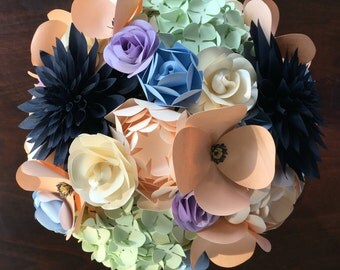Paper Bridal or Bridesmaid Bouquet - Peach, Navy, Ivory, Light Blue & Purple - Hand tied bouquet, Hydrangea Dahlia Ranunculus Poppy Roses
