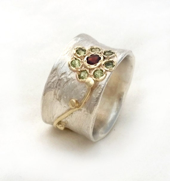 handcrafted flower ring silver gold ring set with garnet and