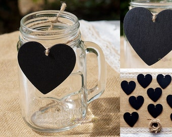 10 x Mini Small Heart Hanging Blackboard, Wedding Lolly Buffet Blackboards, FREE POSTAGE Australia Wide