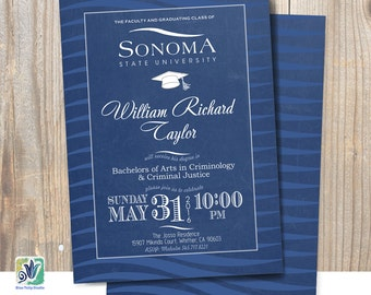 Custom College Graduation Invitation, Chalkboard, Sonoma University Colors, Double-Sided