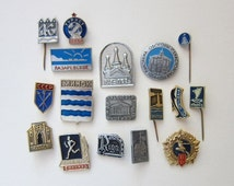 Vintage Soviet pin badges, instant collection, badge lot, pin badges, Soviet badges