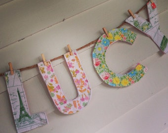 Personalized quilted letters name bunting for display or play, nursery decor, wedding decor, shower decor
