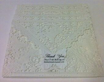 Reserved 45 Off White Basket Filligree Lace Doily Envelopes - Last Batch Left