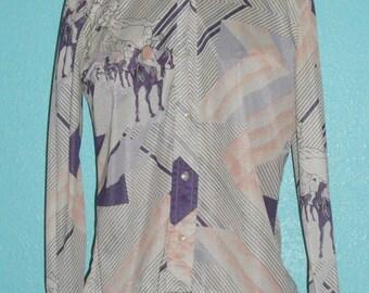 "70s Vintage Nylon Deco Print ""Loubella"" Ladies' Long Sleeve Disco Shirt — Size M — 8-10"
