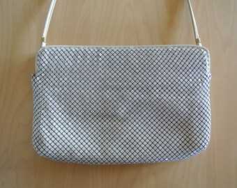 Whiting & Davis Metal Mesh Clutch Handbag Cocktail/Wedding/Bridal White Purse/Gift for Her