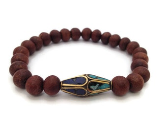 Original Tibetan Rosewood Bead Stretch Bracelet with Capped Turquoise and Lapis Bead - 34WM66