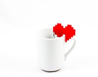 tea infuser, gift for her, heart tea strainer,  loose leaf tea steeper, tea ball, afternoon tea, kitchen accessories, tea charm