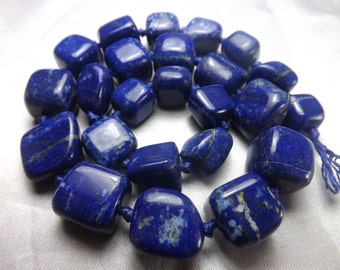 Amazing AAA Grade 100% Natural Polished  Tumble Lapis Lazuli Beads Strand Necklace Afghanistan  LP70