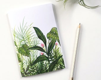 Notebook with tropical plants, exotic notebook, illustration by Joannie Houle