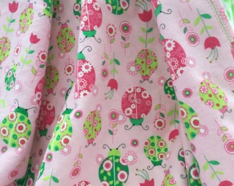 Flannel Receiving Blanket ~ Double Layer Flannel Blanket ~ Baby Girl Blanket ~ Ladybugs ~ Pink ~ Green