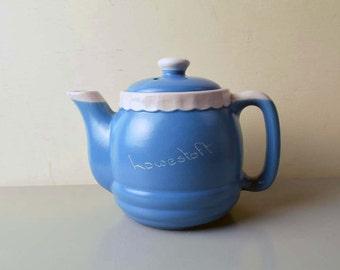 Vintage Blue Devon Ware Devonmoor Made in England 'Howestoft' Single Small Teapot