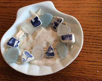 Japanese Sea glass and sea pottery Bracelet- size 7 1/2 NEW- Can Resize B110
