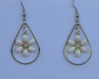 White Snowflake Medium Teardrop Earrings