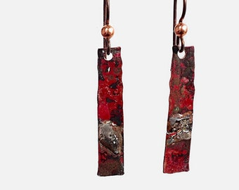 Flame Coloured Copper Metalwork Earrings, Mixed Metal Jewelry, Steling Silver with Copper, Rustic Earrings