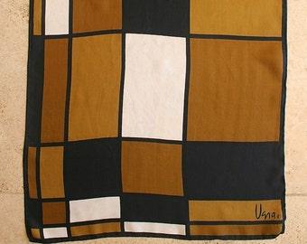 Vintage 1960s Retro Mod Geometric Vera Large Silk Scarf in Black, Brown & White Color Blocks, Hand Rolled