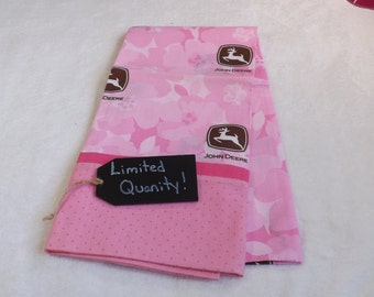 Pillowcase made from Girls Pink Camo John Deere cotton fabric with pink trim