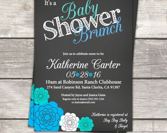 Brunch chalkboard baby boy shower invitations, teal white and blue, digital files, see description for details