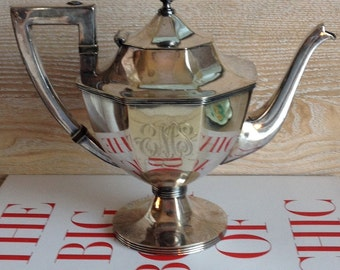 Federal Style Monogrammed Nickel Silverplate Teapot | Barbour 1892