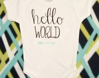 Hello World Machine Embroidery Design in several sizes and styles – the perfect embroidery design for a newborn baby.