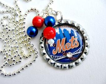 New York Mets Baseball Necklace, New York Mets Jewelry, NY Mets Jewelry, New York Mets Accessories, NY Mets Clothing, Mets Baseball