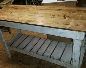 Kitchen Island- Farm Table Style-Distressed-Work Table