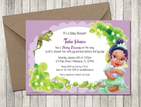 diy baby shower invitation baby girl princess and the frog