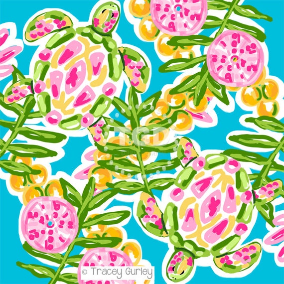 preppy sea turtle digital paper preppy print watercolor