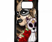 Day of the dead sugar skull cat el gato girl rose tattoo cool rose mexican graphic art case for Samsung Galaxy S7 / S7 edge phone cover