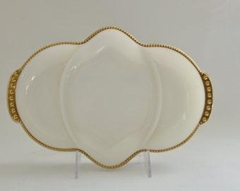 Vintage Opalescent Milk Glass & 22 Karat Gold Bead Trim Divided Relish Dish. 1950's Fire King Anniversary Line. Art Deco Decor. Gorgeous!
