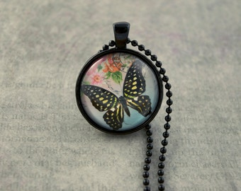 "Butterfly Pendant Necklace, 1"" Glass Dome Necklace, Black Necklace"