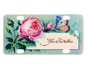 Bicycle License Plate, Bike License Plate, Bike Tag, Mini, Custom Text, Name, Personalized, Rose Butterfly Vintage Design, Flower, Floral
