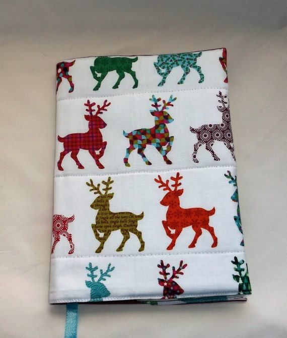 Large Fabric Book Cover ~ Reindeer fabric large a notebook cover by alscraftycorner