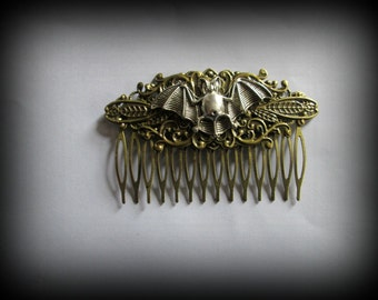 Steampunk hair comb-hair fork-bat steampunk hair stick-gothic hair clip-bat hair clip