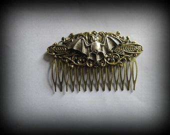 Steampunk hair comb-hair fork-bat steampunk hair stick-gothic hair clip-bat hair clip
