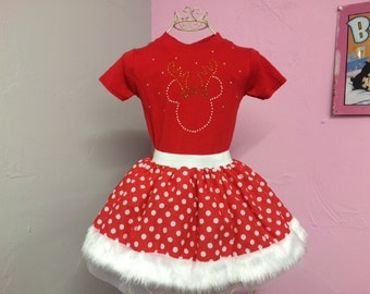Baby Girl Toddler Christmas Minnie Mouse Reindeer or Angel Fancy Dress Party Costume Polka Dot Tutu Skirt Rhinestone Vesr or Shirt