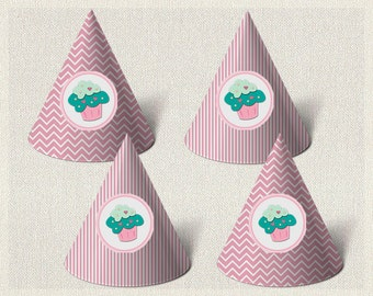 Printable Party Hats Birthday Cupcake Aqua 1st 2nd 3rd Pink Girl IV-6