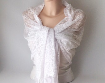 Wedding Shawl, Bridal Shawl, White Tulle  Wrap Shawl