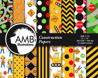 Construction Digital Papers, Construction Site Papers, Work Site Pattern, Dump Truck Papers, Commercial Use, AMB-1175