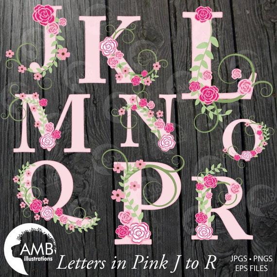 Floral Alphabet clipart Alphabet clipart Pink Roses Floral