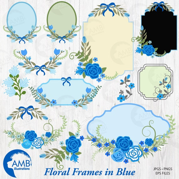 Floral Frames and Tags Clipart, Wedding Frames in Blue Clipart ...