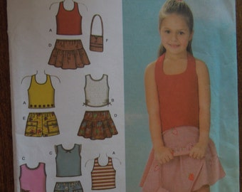 Simplicity 4611, girls, childrens, shorts, skirts, bag and knit tops, UNCUT sewing pattern, craft supplies
