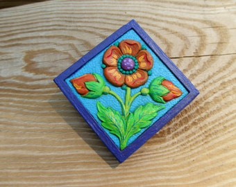 Hand Painted Orange Flower Magnet