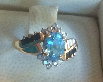 10k blue topaz sapphire diamond ring