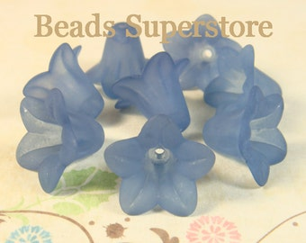18 mm x 12 mm Midnight Blue Lucite Flower Bead - 10 pcs
