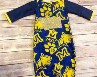 Handmade Montana State Bobcats Cotton Newborn Baby Gown