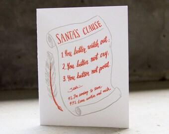 Santa's Clause Letterpress Christmas Card