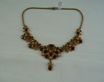 Vintage gold, bronze and pearl victorian style steampunk necklace